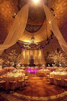 Love the draping defo an idea to jazz up a hall. Though this actual venue is stunning.