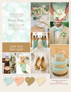 Loving this mint and gold wedding inspiration board from Ann's Bridal Bargains  - click through for great tips on this theme of wedding!