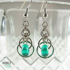 Moroccan Teal Blue Green Chainmaille Lampwork Glass Bead Earrings Eclipse Drop