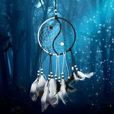 Cheap gift gifts, Buy Quality indian dream catcher directly from China indian catcher Suppliers: Handmade Tai Chi Yin Yang Dream Catcher Indian Black and White Feathers Dream Catcher Home Car Decoration Craft Gift Wind Chime Parts, Wind Chimes For Sale, Wind Chimes Craft, Yin Yang, Meditation Workshop, Bel Art, Wedding Wall, Car Wedding, 5d Diamond Painting
