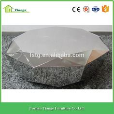 Contemporary Furniture Diamond Shaped Stainless Steel Gem Round Coffee Table in Sliver Finish
