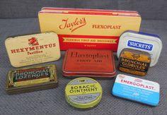 8 Fantastic Vintage MEDICAL TINS...1920s - 1950s...Antique Retro Packaging…