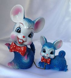 Kitschy vintage Japan blue mouse with baby by TheCatzPajamas