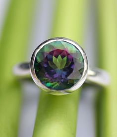 Mystic Topaz Sterling Silver Ring Gemstone Ring by louisagallery, $135.00