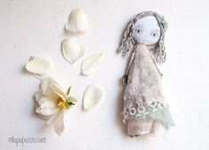 Art doll brooch, Winter Boho Girl, Christmas Handmade gift