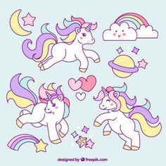 Sketches of unicorn with lovely elements Free Vector Unicorn Images, Unicorn Pictures, Unicorns And Mermaids, Cute Unicorn, Unicorn Art, Unicorn Birthday, Art Birthday, Iron On Patches, Little Pony