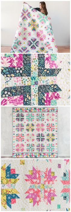 Honey Blossom Quilt kit by Craftsy. Modern twist to the traditional Log cabin block. Log cabin quilt pattern. Affiliate link.