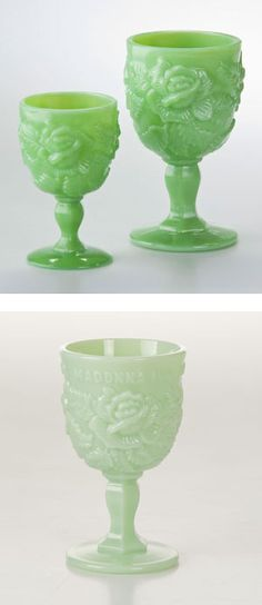 Can't get enough of my Madonna Inn Goblets. I want to get couple in Milk Green or Vaseline...