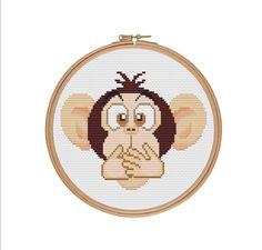Three wise monkeys, Speak no evil, Monkey cross stitch, Monkey pattern, Cross stitch pdf, Counted cross stitch pattern, Cross stitch design by StitcheryStitch on Etsy