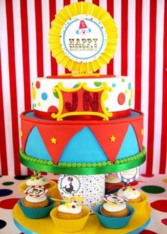 Colorful cake at a Circus birthday party! See more party planning ideas at CatchMyParty.com!