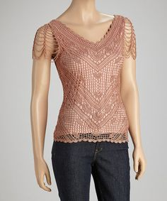 Peach Sheer Crocheted Top by Papillon Imports on #zulily