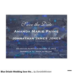 Blue Drizzle Wedding Save the Date 5x7 Paper Invitation Card
