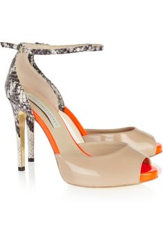 Stella McCartney|Faux python and patent-leather sandals|NET-A-PORTER.COM/Nude aaaand orange!
