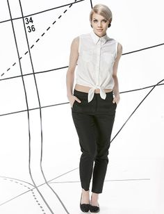 Mod style outfit: knotted white top and black pants