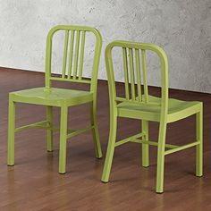 Set of 2 Green Navy Style Metal Chairs in Glossy Powder Coated Finish Steel ... ModHaus $198