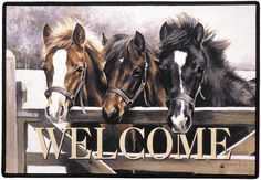 Over the Gate Horse Welcome Outdoor Doormat 100% Polyester face, permanently dye printed & fade resistant, non-skid rubber backing, durable polypropylene web trim. Art by Caroline Cook Size: 27 x 18 Hand Made and Printed in the USA, by Fiddlers Elbow. Family Owned since 1973 Free shipping applies to US orders only. FED11$32.00