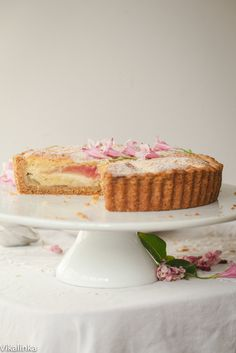 Roasted Rhubarb Bakewell Tart. Buttery tart filled with almond filling ...