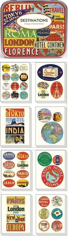The Cavallini Destinations Travel Stickers are an amazing array of retro graphics featuring worldwide places on stickers of various shapes and sizes. Includes 95 different stickers in a decorative tin.