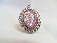 Pink Holographic Glitter Nail Polish Necklace - 'Party Princess' Handmade Sparkly Holo Hologram Silver-plated Nail Varnish Pendant Jewelry