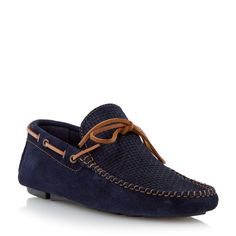 DUNE MENS BEACH COMBER - Weave Print Driver Loafer - navy | Dune Shoes Online