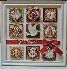 Hello Everyone, Well I have made another wall art project. This time I have used Season of Style Designer Paper. My Friday night Scrapboo. Christmas Shadow Boxes, 3d Christmas, Christmas Paper Crafts, Christmas Frames, Stampin Up Christmas, Christmas Projects, Christmas Ideas, Crafts To Sell, Diy Crafts