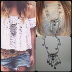 """Bohemian Gypsy Necklace Cute silver toned zinc alloy necklace. Chain is about 30"""". New in package. Jewelry Necklaces"""