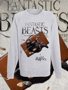 Fantastic Beasts and where to find them Raglan sweatshirt J.k Rowling hogwarts collection 2017 di DaiquisCraftRoom su Etsy