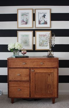 Black and white stripes ith wood and naturals