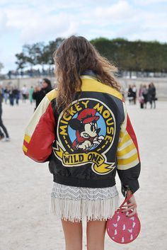 mickey mouse leather jacket | Trendycrew.com Cute White Dress, Little White Dresses, Fashion Photo, Paris Fashion, Street Fashion, Barcelona Street, Yellow Coat, Street Style Blog, Edgy Chic