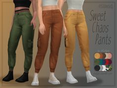 The Sims 4 Maxis Match Custom Content - trillyke: Sweet Chaos Pants Cargo pants inspired. Sims Four, Sims 4 Mm Cc, Sims 4 Mods Clothes, Sims 4 Clothing, Maxis, Vêtement Harris Tweed, Los Sims 4 Mods, The Sims 4 Cabelos, Sims 4 Gameplay