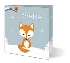 Vrolijke en kleurrijke geboortekaartjes en wenskaarten, in verschillende formaten.: Vosje in de sneeuw