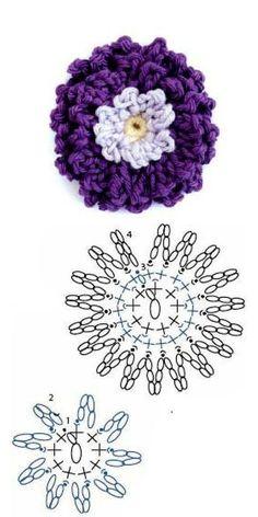 Watch The Video Splendid Crochet a Puff Flower Ideas. Wonderful Crochet a Puff Flower Ideas. Marque-pages Au Crochet, Crochet Motifs, Love Crochet, Irish Crochet, Crochet Stitches, Crochet Afghans, Crochet Flower Tutorial, Crochet Flower Patterns, Crochet Designs
