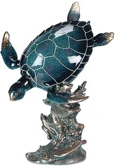 """Amazon.com: Custom & Unique {13"""" Inch} 1 Single Large, Home & Garden """"Standing"""" Figurine Decoration Made of Resin w/ Metallic Deep Oceanic Wildlife Sea Turtle & Coral Style {Blue, White & Silver Color}: Home & Kitchen"""
