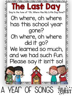 Using Songs in Your Classroom (Fun in First Grade) Kindergarten Graduation Songs, Graduation Poems, Kindergarten Poems, Preschool Poems, Preschool Music, Graduation Ideas For Preschool, Graduation Songs For Kids, Goodbye Songs For Preschool, Preschool Weather