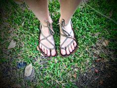 Hardcore, barefoot, running huaraches