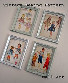 Vintage Sewing Pattern Wall Art | BlogHer - Perfect for mom.