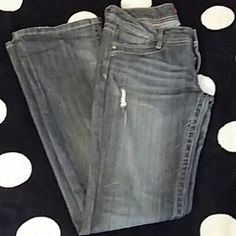 Unionbay True boot jeans Euc size 5 bootcut jeans. ..these were made to look distressed even on the bottoms of leg. ..really cute form  flattering jean.s 2 pockets on front, 2 on back Unionbay Jeans