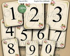 Printable VINTAGE NUMBER CARdS / Digital Images / printable download / Printable Numbers / Number cards / Place Cards / Scrapbook / Cards
