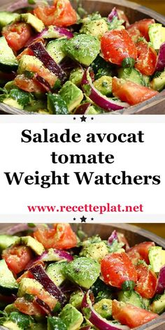 Weight Watchers Tomato Avocado Salad - If you like to combine flavors, this avocado tomato salad is for you. Plats Weight Watchers, Weight Watchers Meals, Avocado Dessert, Healthy Chicken Recipes, Vegetable Recipes, Feta, Avocado Toast, Avocado Salat, Vegetarian Lunch