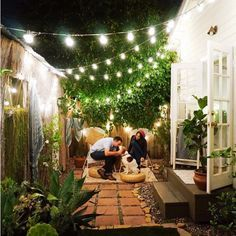 35 awesome patio yard string lights ideas outdoor and garden Outdoor Rooms, Outdoor Living, Outdoor Decor, Outdoor Projects, Outdoor Ideas, Diy Projects, Backyard Lighting, Back Gardens, Small Patio Gardens