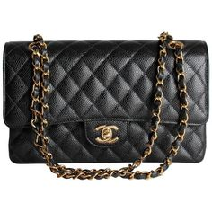 Chanel 2.55 Caviar Medium Classic Double Flap Bag - black/gold | From a collection of rare vintage shoulder bags at https://www.1stdibs.com/fashion/handbags-purses-bags/shoulder-bags/