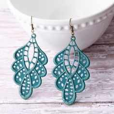 Teal Hand Painted Brass Earrings Boho Jewelry Large Earrings Lightweight Earrings Teal Earrings Peacock Blue  by michelledaleigh on Etsy https://www.etsy.com/listing/222846193/teal-hand-painted-brass-earrings-boho