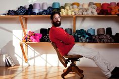 Greg Chait, of the Elder Statesman, in his California showroom in a sweater from his fall 2013 line.