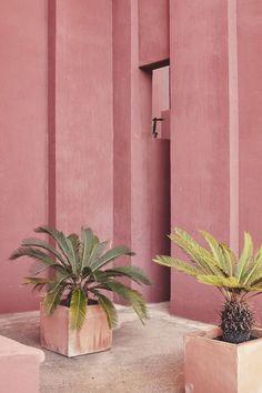Marysia pink - Ricardo Bofill's La Mural Roja from Vogue