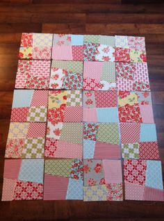 "Easy 4 patch quilt with a layer cake. I like the the slightly wonky ""flagstones"". Moda Bake Shop: 4-Step Flagstone Quilt"