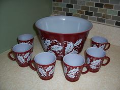Vintage Hazel Atlas Maroon w Wht Holly Christmas Punch Egg Nog Bowl 6 Cups