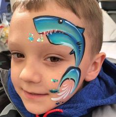 Shark Face Painting, Cool Sharks, Face Painting Designs, Face Paintings, Shark Week, Aqua Marine, Animal Faces, Face Art, Mermaid