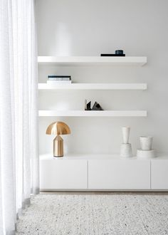 Brighton Residence - Local White Floating Shelves - We Are Huntly - Interior Archive 8 Home Living Room, Living Room Designs, Living Room Decor, Living Spaces, Bedroom Decor, Living Room Shelves, Living Room Storage, Wall Decor, Muebles Rack Tv