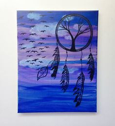 Dream Catcher Painting, Cheap Wall Art, Dream Catcher Art, Colorful 14x11…