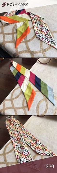 """Coach Legacy Stripe Ponytail Scarf 100% silk, measures 34"""" tip to tip and is 2.5"""" wide. I used it for a week, tied onto the handle of a bag. Some wrinkles in the middle but in fantastic shape! Comes from smoke free home. Coach Accessories"""